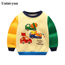 Unini-yun Autumn winter children T-shirt Solid color Boys girls pure cotton sweatshirts Bab