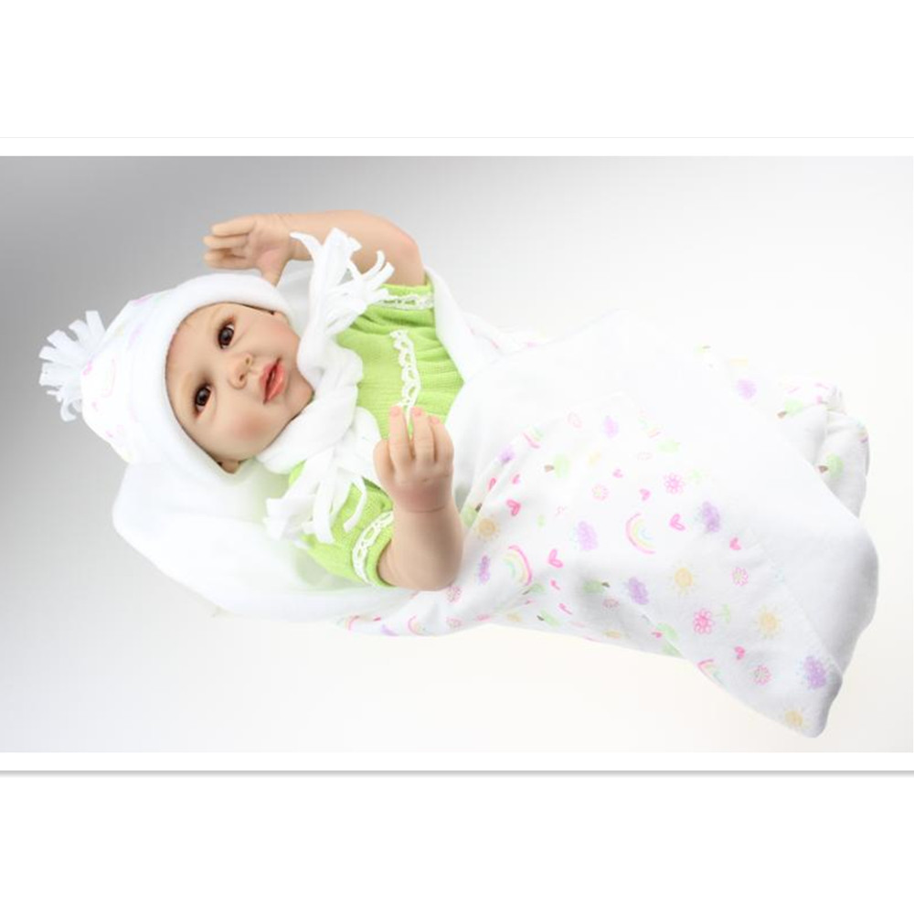 Silicone Reborn Dolls with Clothes,Vivid 18 Inch Lifelike Baby Reborn Doll Toys for Children's Christmas Gift short curl hair lifelike reborn toddler dolls with 20inch baby doll clothes hot welcome lifelike baby dolls for children as gift