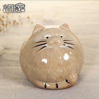 1pc Lucky Cat Figurines Miniatures Handmade Home Decor Piggy Bank Ornaments Animal Crafts For Home Decoration