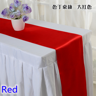 Red Colour Table Runner Satin Shiny Colour Table Decoration Wedding Hotel Party Show Table Runner Cheap