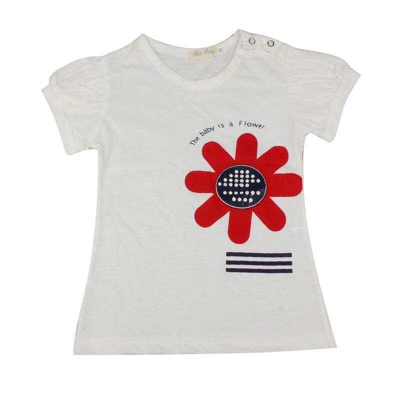 Flower pattern summer girls clothing sets 2016 1PC T-Shirt + 1PC Shorts + 1PC Hair Band roupas de menina Krystal hot sale