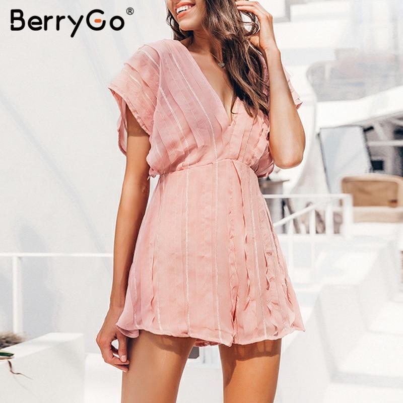 Женский комбинезон BerryGo, пляжный, шифоновый, с открытой спинкой, с треугольным вырезом, Песочник