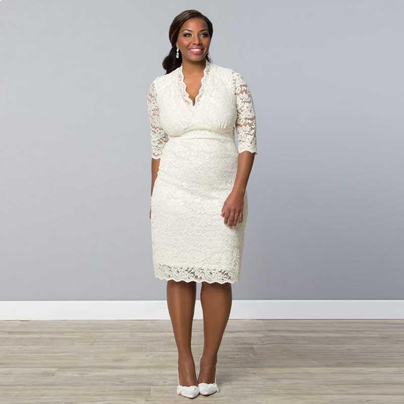 2016 Soft Simple Lace Bridal Gown Wedding Dresses V Neck Half ...