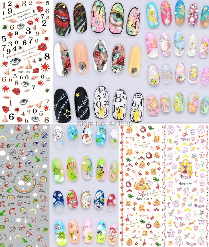 Harajuku Korean 3d nail patch art halloween nail wraps stickers ...