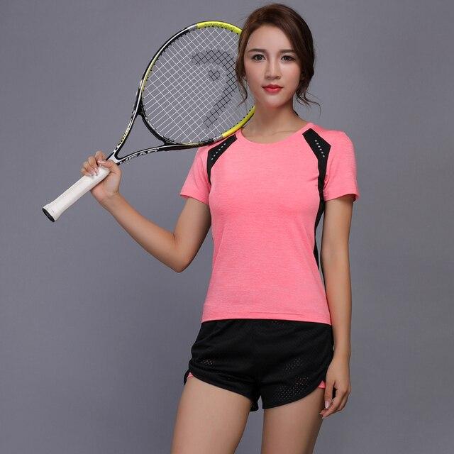 f53b52d205 Women Tennis Clothes Set Badminton Clothing Tight Compression Shirt Shorts  Fitness Running Shirt Workout Jogging Sport Suit