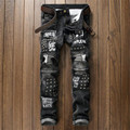 2016 Mens Ripped Jeans Skinny Patchwork Biker Jeans With Rivet P6029