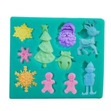 цена на 3D Christmas Tree Deer Snowman Snowflake Santa Claus Silicone Mold