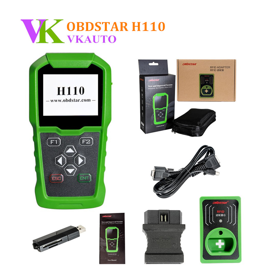 OBDSTAR H110 VAG with RFID Adapter Key Programmer Support Odometer Correction and VW 4th & 5th IMMO original obdstar f101 for toyota immo g reset tool support g chip all key lost free update via tf card f101 obdstar free ship
