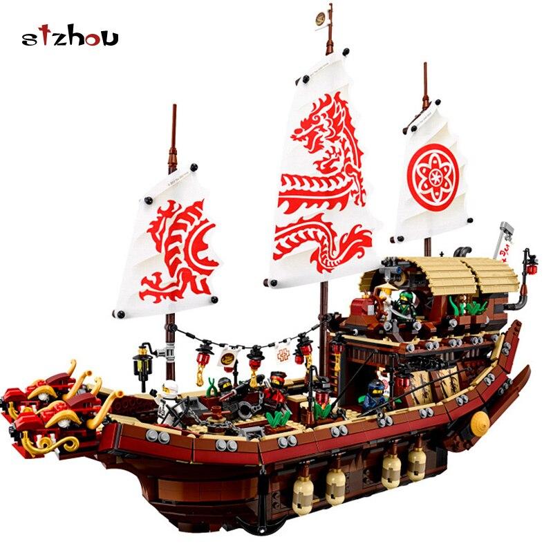 Stzhou 06057 Legoing Ninjago 70618 судьбы Bounty корабль 2455 шт. кирпичи ниндзя Фильм модель лодки строительные блоки игрушки Дети