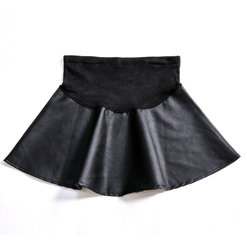 Осенне-зимние юбки для беременных, сексуальная юбка из искусственной кожи с высокой талией для беременных женщин, мини трапециевидные платья для беременных C0102