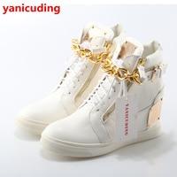 Luksusowa Marka Super Star Kobiet Buty Z Przodu Koronki Up Side Zip projekt Mieszkania Wysokiej Góry Metalowe Zdobione Złoty Łańcuch Fajne Zapatos Mujer