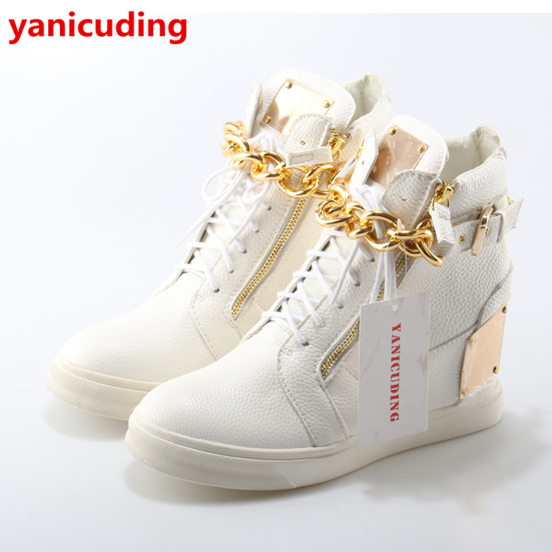 Luxury Brand Super Star Women Shoes Front Lace Up Side Zip Design Flats High Top Metal Embellished Gold Chain Cool Zapatos Mujer lace up front zip back design shorts