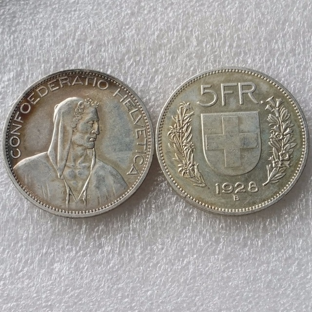 1928 Schweiz Konföderation Silber 5 Franken 5 Franken Kopie