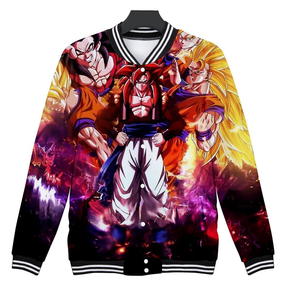 DRAGON BALL бейсбольная куртка Аниме Объёмный рисунок (3D-принт) Куртки Жакет женский ко ...