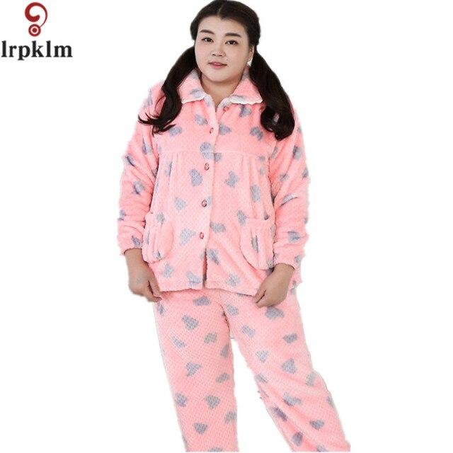 Sleepwear Womens Pajama Set Winter Warm Flannel Pajamas Long Sleeve Coral  Fleece Women Pyjama Suits Home Wear Leisure Wear SY514 a6bcbbe951