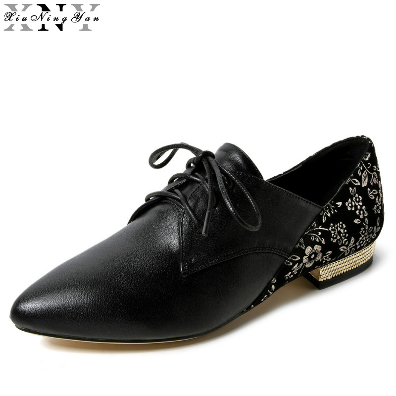 5844d85f3 XIUNINGYAN Oxford Sapatos Mulheres Apartamentos Novo 2017 Moda Lace up  Sapatas das mulheres Apontou Toe Zapatos Mujer Plus Size 42 Genuíno couro