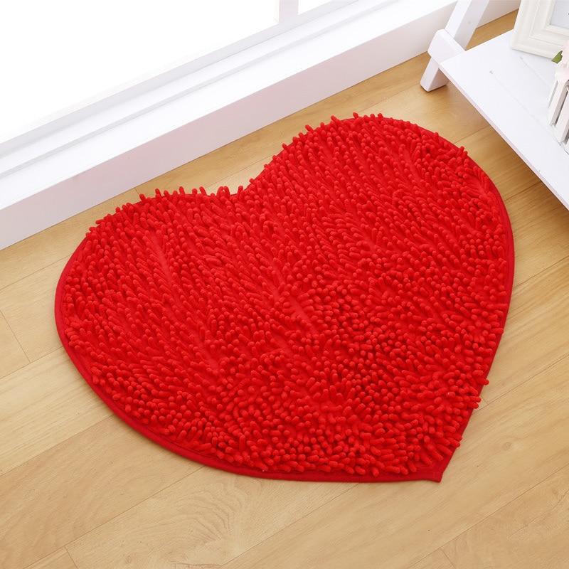 50*60cm Heart Shaped Fluffy Red Bedroom Mats Custom Chenille Doormat Non  Slip Rug Bathroom Mats Pink Home Decor  In Bath Mats From Home U0026 Garden On  ...