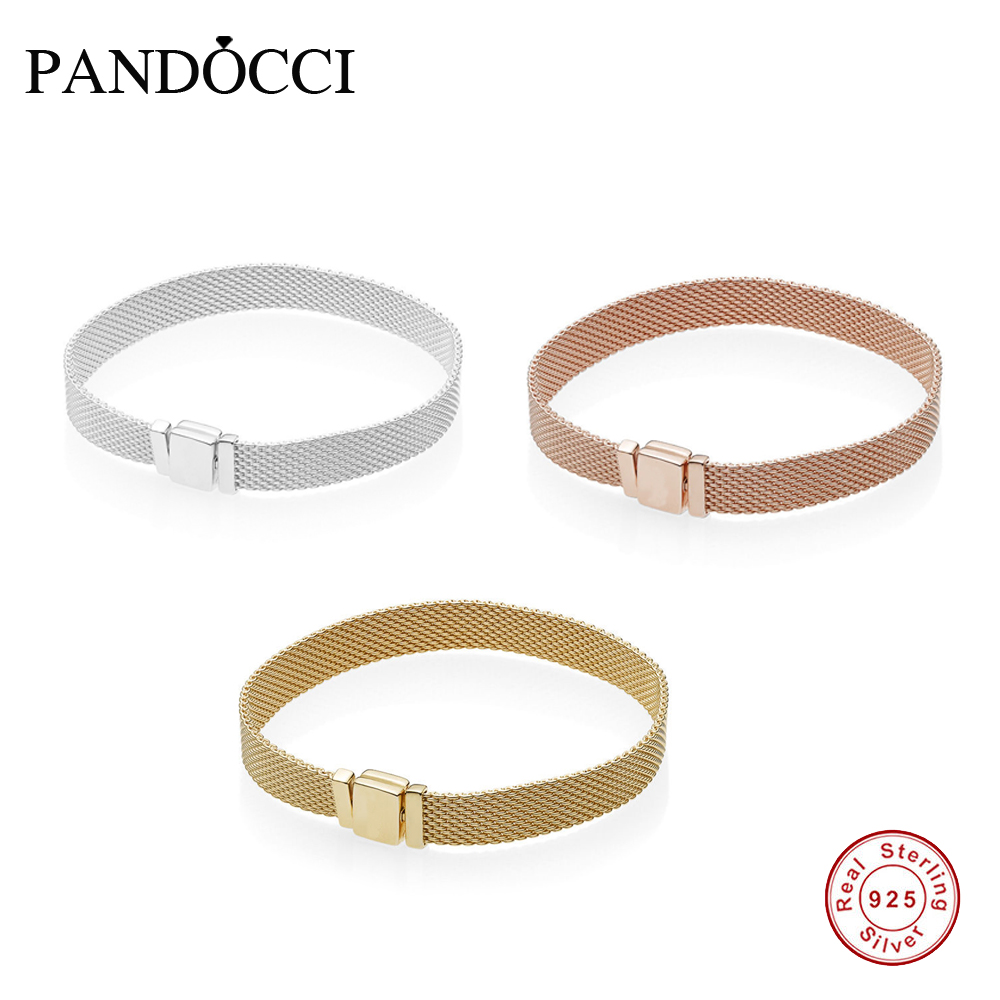 PANDOCCI 100% 925 Sterling Silver REFLEXIONS BRACELET Gold Color Rose Gold Selection Birthday Anniversary Gift Recommendation