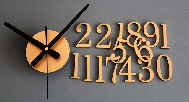 *DIY Acrylic Clock Back In Time 3D Stereoscopic Digital Scale Wall Clock Creative Fashion Clock Reversal Silent
