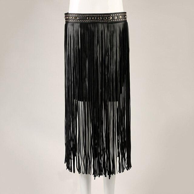 Fringe Tassel Belt Black Female Rivet Wearing Rope Long Tassel Girdle Womens High Waist Belt Decorative Fashion Belts 35cm 72cm