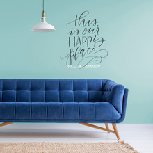 This is Our Happy Place English Words Removable Sticky Vinyl Wall Decals Quotes Bedroom Sofa Background Decor Living Room LA290