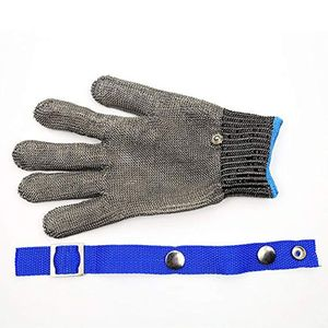 Image 5 - Blue Red Safety Cut Proof Stab Resistant Stainless Steel Metal Mesh Butcher Glove High Performance Level 5 Protection