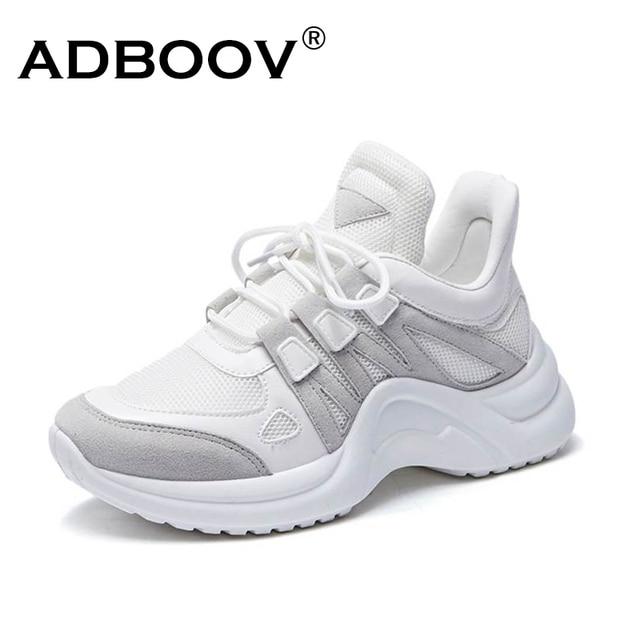 ADBOOV חדש עור מפוצל ספורט נשים בתוספת גודל 35-42 נעלי פלטפורמת גבירותיי גובה הגדלת שמנמן סניקרס Zapatillas Sujer