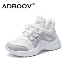 ADBOOV New PU Leather Women Sneakers Plus Size 35 42 Platform Shoes Ladies Height Increasing Chunky