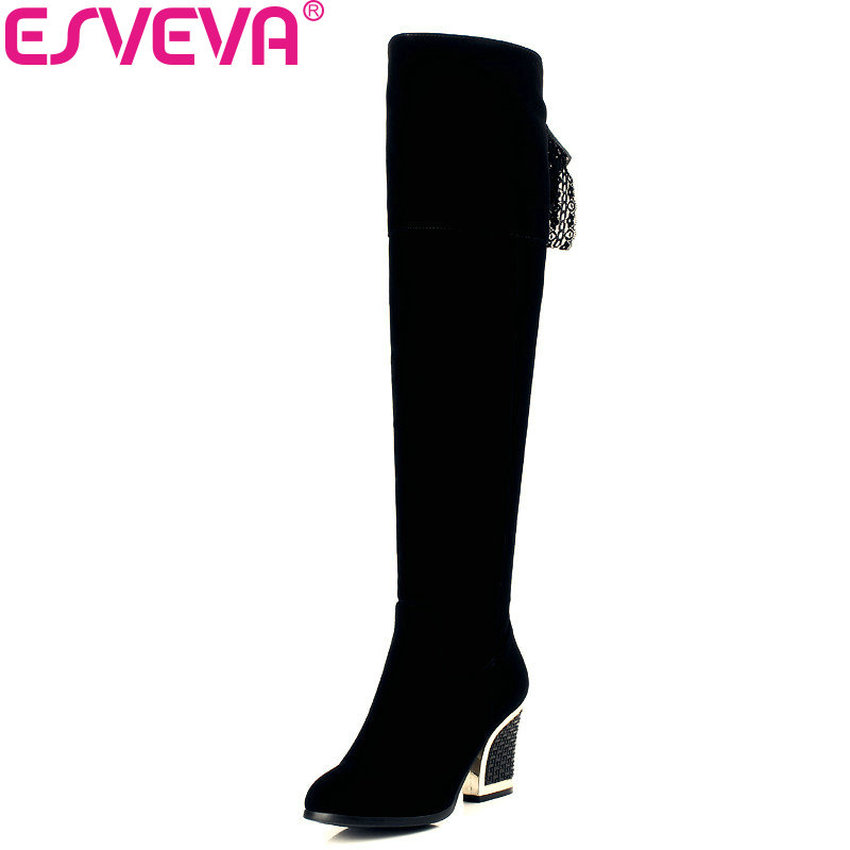 ESVEVA 2018 Women Boots elegant Warm Zipper Winter boots Square High Heels Round Toe shoes Over The Knee Boots Size 34-40 esveva 2018 boots square heels short plush women boots high heels round toe elegant over the knee boots ladies shoes size 34 39