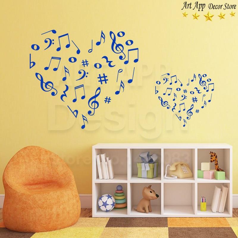 Good quality musical notes wall sticker New Art Design heart home ...