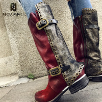 Prova Perfetto 2018 New Autumn Winter Women High Boots Genuine Leather Rivets Studded Flat Botas Mujer Straps Platform Shoes
