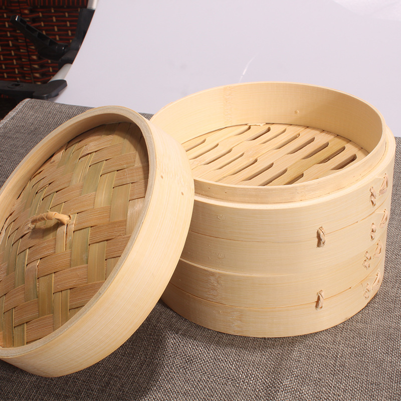TWO Cage One Cover Bamboo Steamer Rice Snack Basket Set Dumpling Steamer Kitchen Cooking Tools