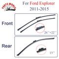 Kit Dianteiro E Traseiro de Borracha de Silicone Wiper Blades Para Ford Explorer 2011-2015, Limpa-pára-brisas Acessórios Do Carro