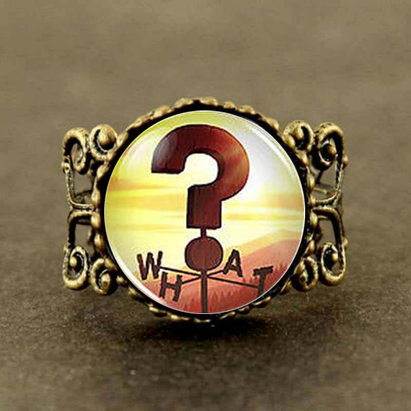 Steampunk Drama Gravity Falls Mysteries BILL CIPHER WHEEL what Sign Weathervane Ring 1pcs/lot question mark antique