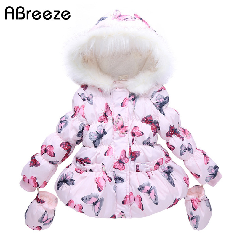 Abreeze High Quality Fashion Girls Winter Coat + Gloves 2pcs Set Butterfly Hooded Zipper Fleeced Baby Girl Winter Jackets girls