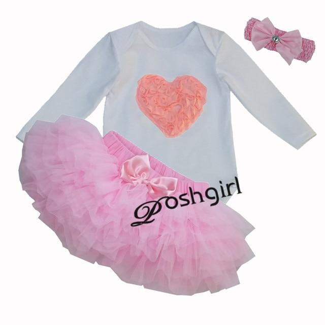 New Baby Dress for Girls Юбки Одежда Устанавливает Bebe первый День Рождения Костюмы Розовый Сердце Любовь Кружева Одежды Младенческой Новорожденных подарки
