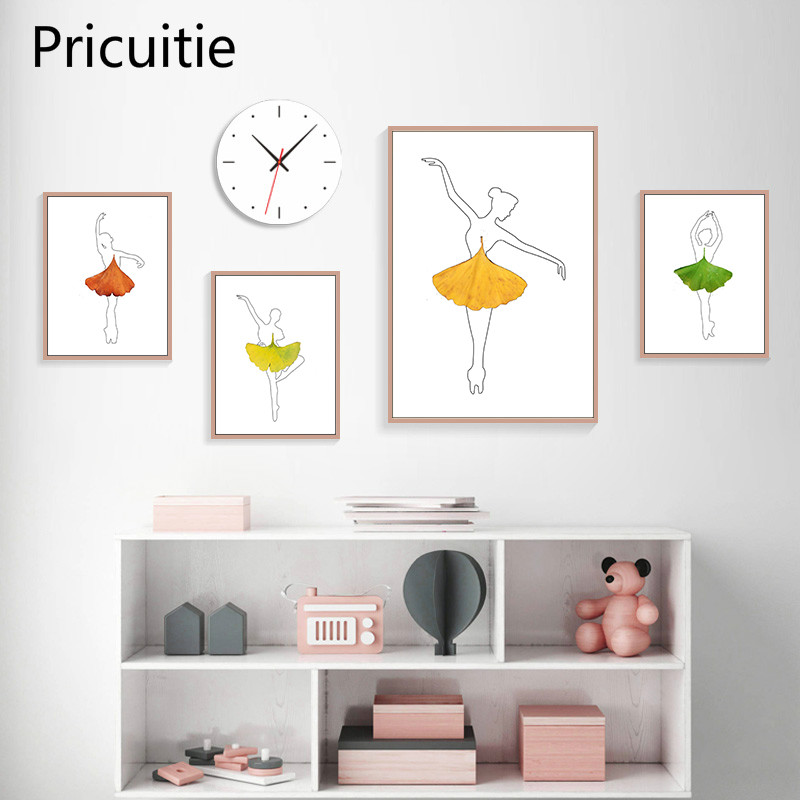 Abstract Pretty Girls Art Canvas Painting Prints Leaf Skirt Posters Wall Pictures For Living Room Modern Home Decor
