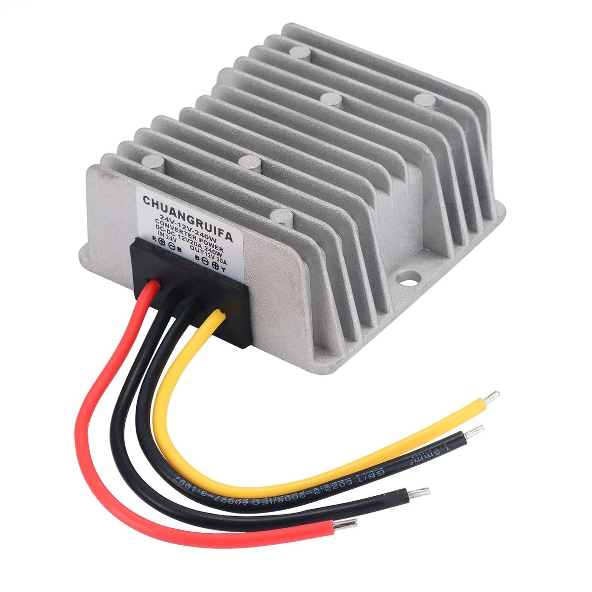 Aluminium Car Power Supply  DC 24V to 12V 20A Max Voltage Converter