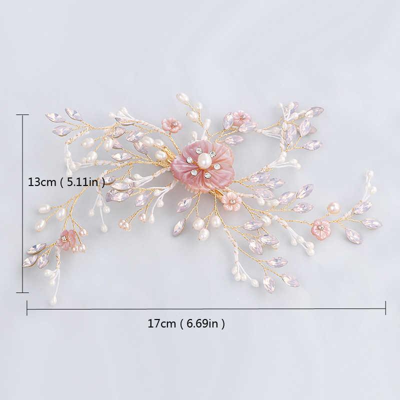 Exquisite Pearl Bridal Fuchsia Hair Clip Pink Flower Wedding Hair Tiaras Opal Women Headband Headpiece Luxury Pearl Hair Jewelry