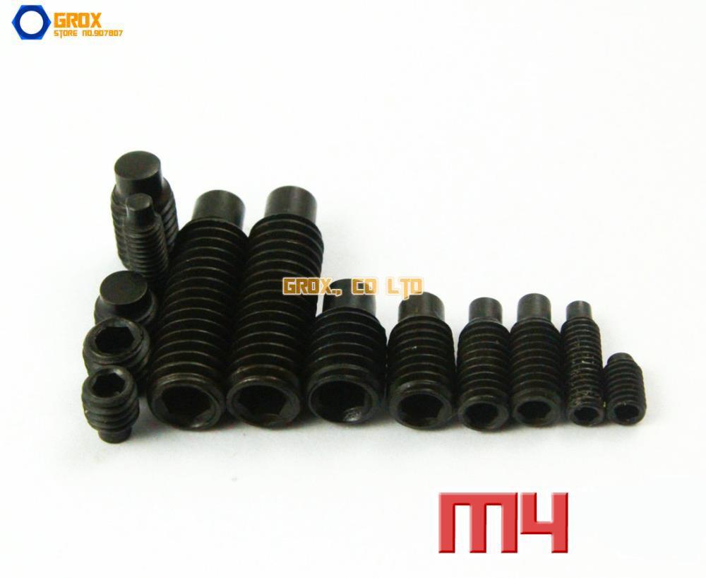 M4 12.9 Grade Alloy Steel Grub Screws Dog Point Hex Socket Set Screw m2 5 grub screws hex socket set screws with cup point alloy steel grade 12 9 black pack 1000