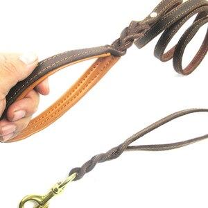 Image 4 - Trançado trela do cão de couro real dupla alça pet andando treinamento leva longa corda curta para pastor alemão médio grandes cães
