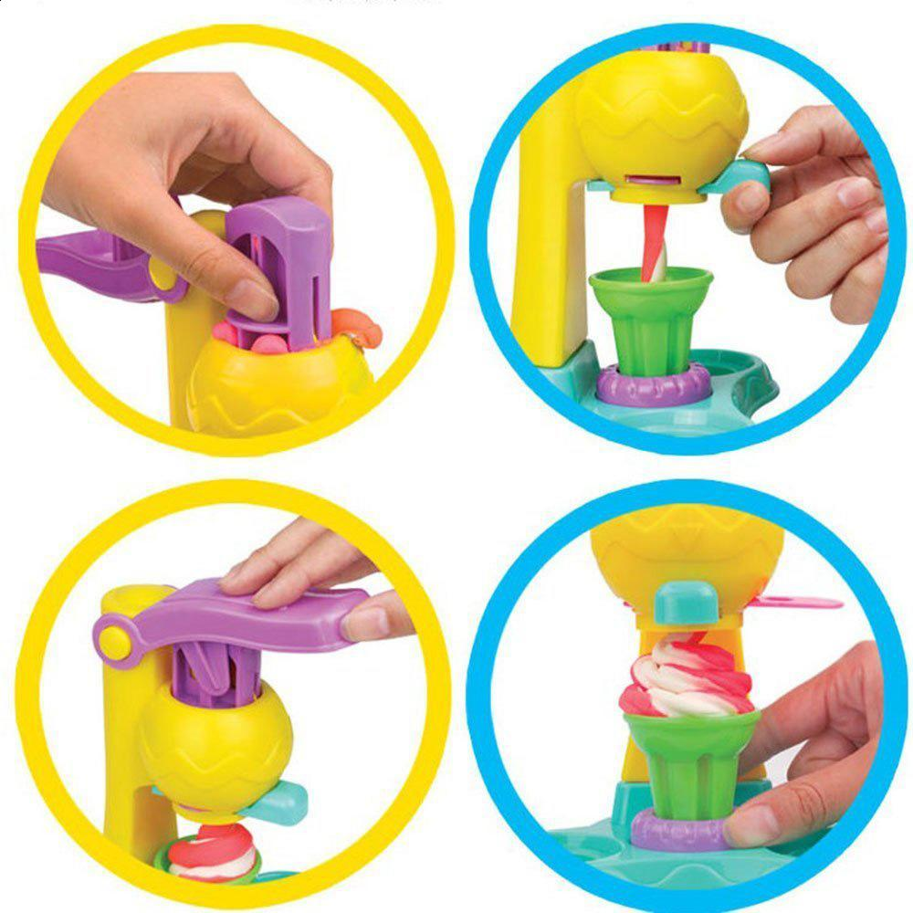Play Dough Color Plasticine Mold Ice Cream Tools Playset Kids Pretend Clay Toys