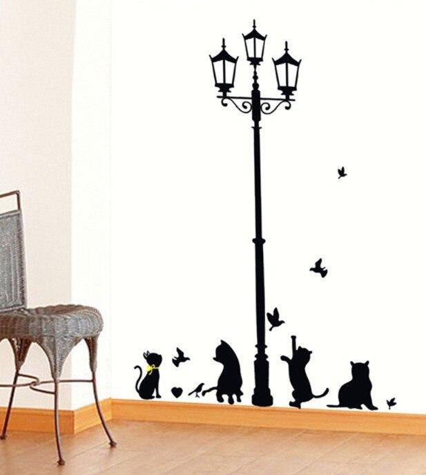 Cats & Birds Playing Lamp Sticker