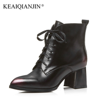 LOVEXSS Woman Genuine Leather Ankle Boots Lace Up Plus Size 33 43 High Heel Boots Winter