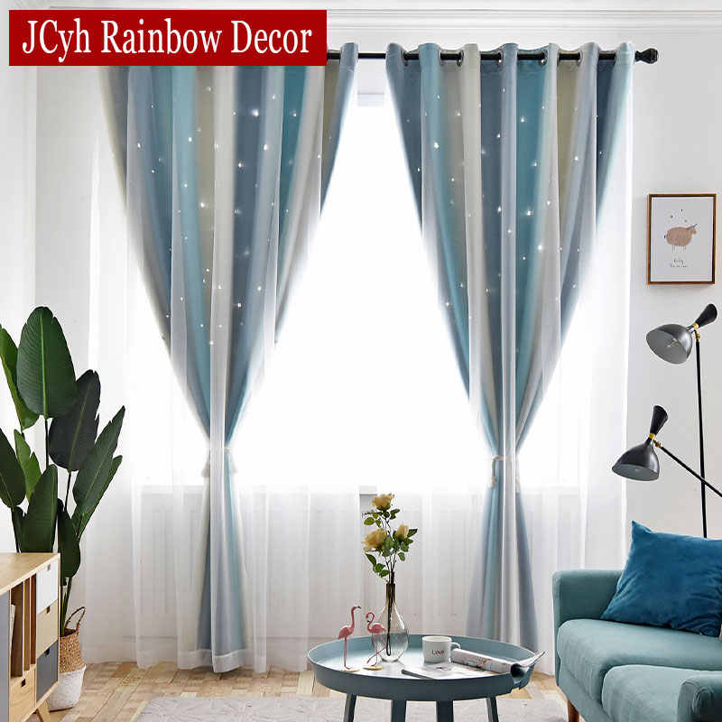 Romantic Striped Gradient Blackout Curtains + Tulle Curtains For Living Room Princess Hollow Stars Bedroom Window Drapes