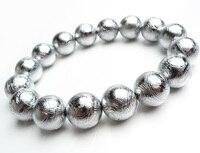 Натуральный Gibeon метеорит посеребренные браслеты для женщин мужчин 14 мм стрейч Шарм Большой круглый бусины браслет