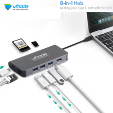 Vmade USB HUB USB C to HDMI RJ45 PD Thunderbolt 3 Adapter for Apple MacBook/Huawei Matebook Pro Type-C USB 3.0 HUB apple thunderbolt 3 usb c на thunderbolt 2