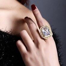 Новый Обручение кольцо Сделано с имитацией фианит свинца золото Цвет большой Медь кольцо полный размер