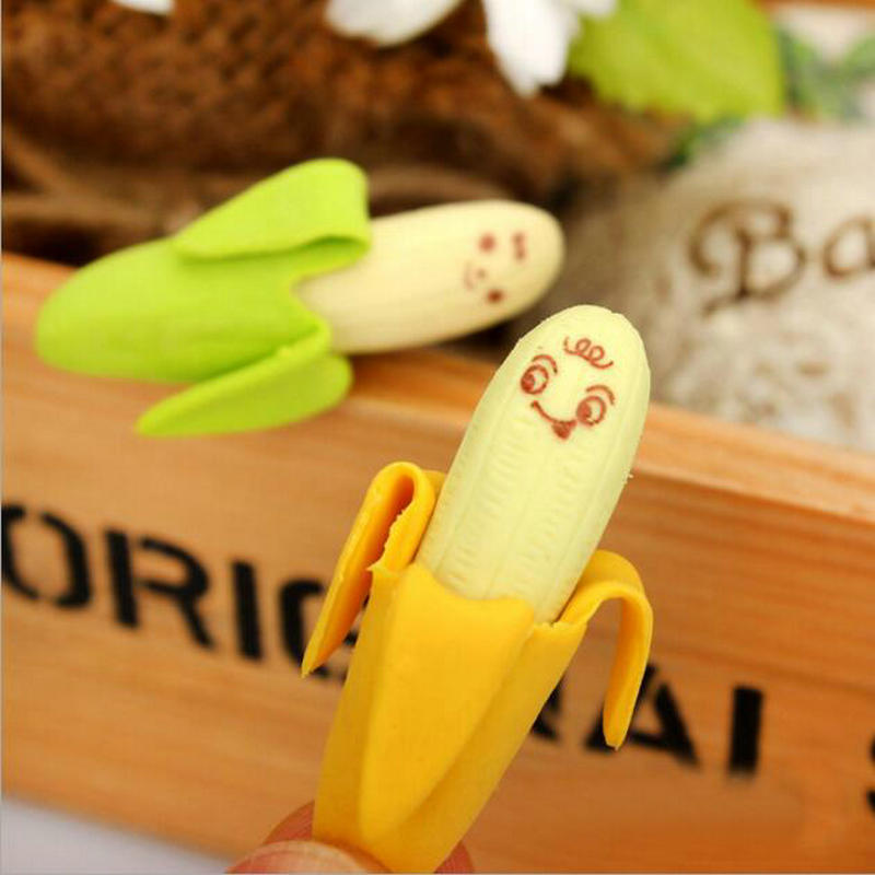 2pcs/pair Kawaii Banana Fruit Pencil Eraser Office And School Students Stationery Children's Gift