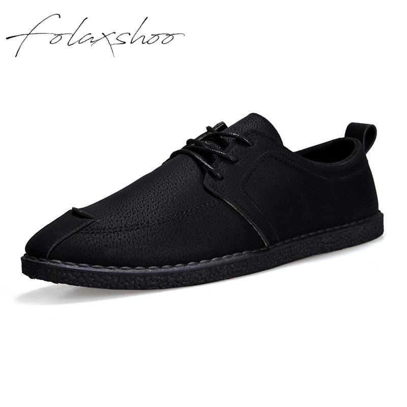 Folaxshoo Basic Lace-up Spring Autumn Men Casual Shoes PU   Leather   Shoes Men Chaussure Hommes Mocasines Hombre Casual   Suede   Shoes
